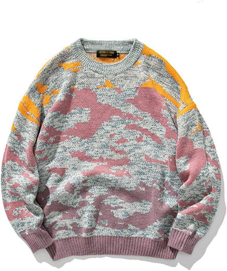 ZYING Youth Men Casual Winter Knitted Sweater Pullover Mens O-Neck Wool Sweater Male Oversized Casual Clothes (Color : Purple, Size : M-length-68CM)