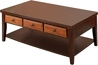 Furniture of America Duralle 2-Tone 3-Drawer Coffee Table, Dark Cherry