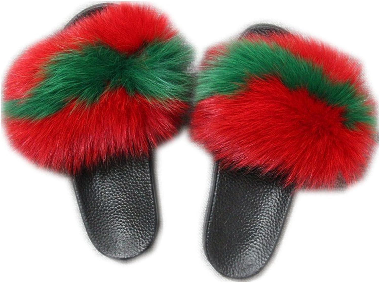 QMFUR Women Real Fox Fur Open Toe Single Strap Slip On Sandals Black Sole (10, Red-Green)