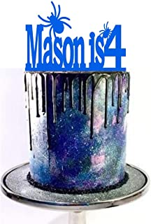 birthday cake topper with bugs cake topper with spiders birthday topper with age topper with name and age name is age mason is 4 is 1 is 2