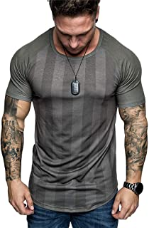 Men's Slim Fit Muscle T-Shirts Summer Casual Short Sleeve Crew Neck Workout Tee Tops