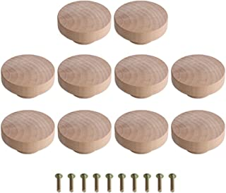 Tiradores redondos de madera sin terminar, 10 unidades, 50 mm x 25 mm