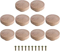 RDEXP Home Accessory 50x25mm Wooden Hardware Round Pull Knobs for Cabinet Drawer Cupboard Cabinet Door Set of 10