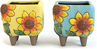Summer Impressions 3.63 Inch Hand Painted Sunflower Succulent Cactus Bonsai Plant Pot Clay Pot Flower Pot Planter Container Floral Design Pack of 2 Indoor Outdoor (Sunflower Yellow and Blue)