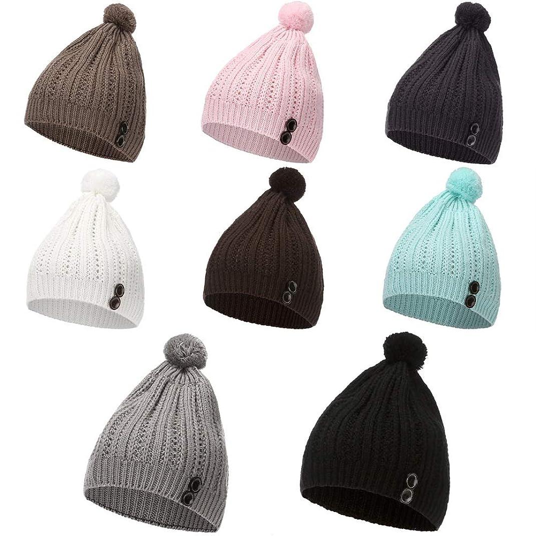 傑作リスクポスト印象派ニット帽 冬のニット帽の女性の秋と冬のウールのボールのウールの帽子暖かい帽子デイリー怠惰なアウトドアアクセサリー 暖かいニット帽子 (色 : ブラック)