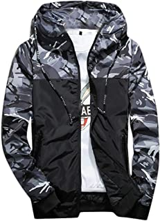 Mogogo Mens Patched Zipper Windbreaker Spring/Fall Hood Camouflage Jackets