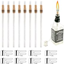 Wine Bottle Torch Kit 8 Pack, Includes 8 Long Life Torch Wicks, Copper Lamp Cover & Brass Wick Mount(13.7 Inch,Bottle not Included)