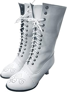 Women Lace up Long Boots, Ladies Solid Round Toe Low Heel Retro Fleeces Mid-calf Boots