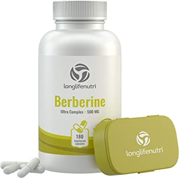 Berberine 500mg Plus HCL Extract | 180 Vegetarian Capsules | Control Blood Sugar | Lower Cholesterol Naturally | Natural Antioxidant & Anti Inflammatory Supplement | Made in USA