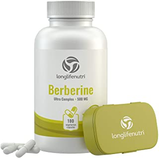 Berberine 500mg Plus HCL Extract | 180 Vegetarian Capsules | Control Blood Sugar | Lower Cholesterol Naturally | Natural A...