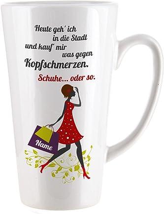Preisvergleich für Herz & Heim® Kaffeetasse für Frauen die gern Schuhe kaufen mit Aufdruck des Namens
