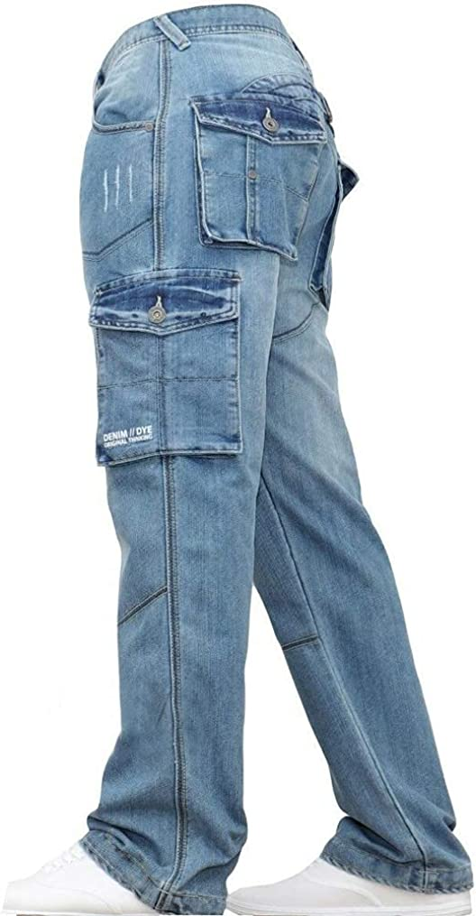 BZB Men's Loose Cargo Jeans Loose Cargo Pants with Multiple Pockets Casual Straight-Leg Jeans
