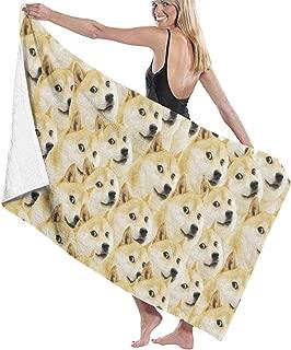 HloChang Shiba Inu Dog Doge Meme Face Bath Towel Microfiber Beach Towel Beach Blanket Quick Dry Towel for Travel Swim Pool Yoga Gym