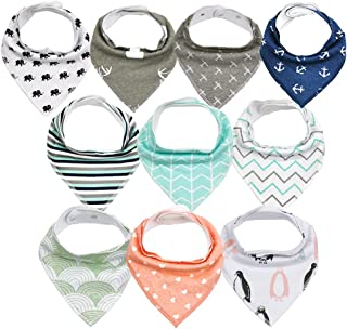 Baby Bibs Bandana Bibs for Drooling and Teething, 10 Pack Unisex 100% Cotton Baby Bandana Drool Bibs for Baby Boys and Gir...