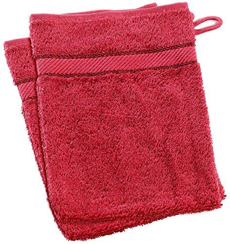 Wilson Gabor Lot de 2 torchons de toilette en éponge de coton, 16 x 21 cm, rouge