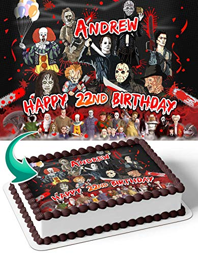 Cakecery Michael Myers Leatherface Freddy Krueger Jason Voorhees Texas Chain Edible Cake Image Topper Personalized Birthday Cake Banner 1/4 Sheet