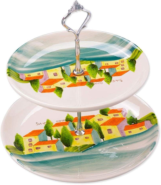 ZSN Panier à fruits en céramique double couche Panier à gateaux de style créatif européen Stand de bonbons Plateau à gateaux en Boîte de fruits secs Plateau à gateaux (Couleur   A)