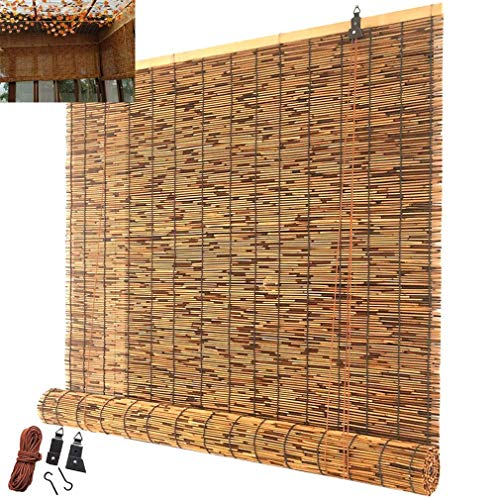 mmmy Jalousien, Rollo Reed Bambus Vorhänge Trennvorhänge Dekorative Vorhänge Retro Carbonization Handgewebte Strohjalousien Atmungsaktive Sonnenjalousien