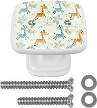 4 Packs Kabinet Deurknoppen met schroeven,Vierkante lade handvat voor kast lade kast kast meubels schattige giraffe