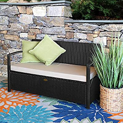 Barton Outdoor Garden All Weather Storage Bench with Backrest Armrest Patio Deck Box Wicker with Thick Seat Cushion