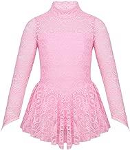 inlzdz Kids Girls Floral Lace Figure High Neck Ice Skating Dress Tutu Dancewear Ballet Gymnastics Leotard