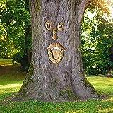 Alter Mann Baumgesicht, Baumgesicht Naturgeist, Gartendeko Garden Peeker Yard Art , Baumstamm Deko, wetterfest, Baumdeko zum H채ngen,4-teilig(D)