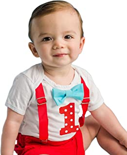 Noah's Boytique Baby Boys First Birthday Outfit Polka Dots Red and Blue