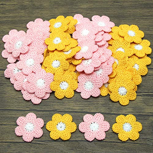 MEISFLY 64Pcs Flower Sew On Decorative Patches Crochet Floral Applique Embellishments for Clothes, Bags, Arts Crafts DIY Decor, Hats, 32 Pcs/Color (Pink and Yellow)