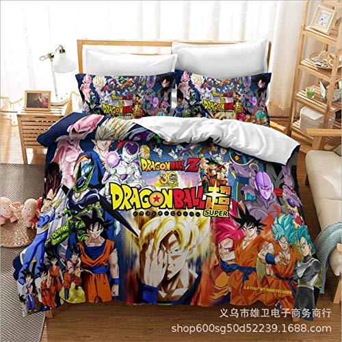 Amswsi Saiyajin 3D Digitaldruck Bettwäsche Home Textil dreiteilige Bettwäsche Bettbezug Halloween geeignet für zu Hause Schulmaterial