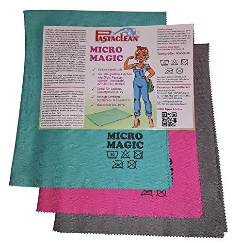 Pastaclean Micro Magic Spezialfasertuch 3er + Vorreinigungstuch TV Laptop Smartphone Glas Spiegel