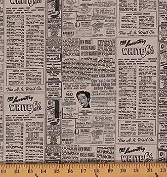 Cotton Newspaper Newsprint Headlines Advertisements Ads Retro Modern Background Paper Zen Chic Cotton Fabric Print by The Yard 1582-17