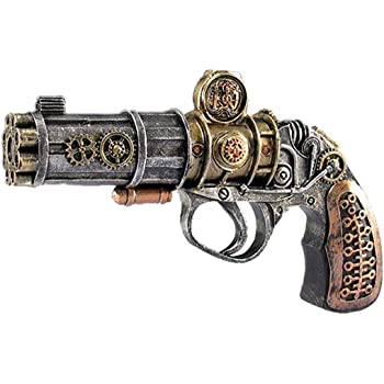 "LCM Steampunk Polyresin Collectible Decorative 6 Barrel Pistol Silver Gold & Bronze 7.5"" SW06"