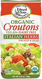 Edward & Sons Organic Croutons, Italian Herbs, 5.25 Ounce Packs (Pack of 6)
