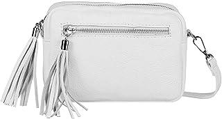 OBC Made in Italy Damen Leder Tasche Umhängetasche Schultertasche Beuteltasche Cross-Over Cross Bag Glattleder Schmucktasc...