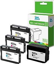InkJello - Cartucho de Tinta Compatible para HP Officejet 6100, 6600, 6700, 7110 7510, 7610, 7612, 932XL 933XL (Negro/Cian/Magenta/Amarillo, 4 Unidades)