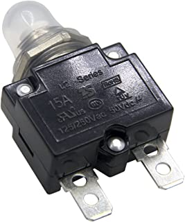 ZOOKOTO 15A DC50V AC125-250V Push Button Reset Circuit Breakers with Quick Connect Terminals and Waterproof Button Transparent Cap