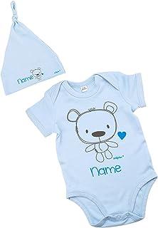 Striefchen hellblaues Babyset mit Namen - Babybody und Babymütze -Teddybär - als Babygeschenk Größe 3-6 Monate