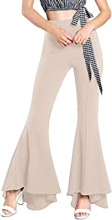 Women Ruffle Bell Bottoms Elastic Waist Solid Fit and Flare Pant Slim Fit Trouser