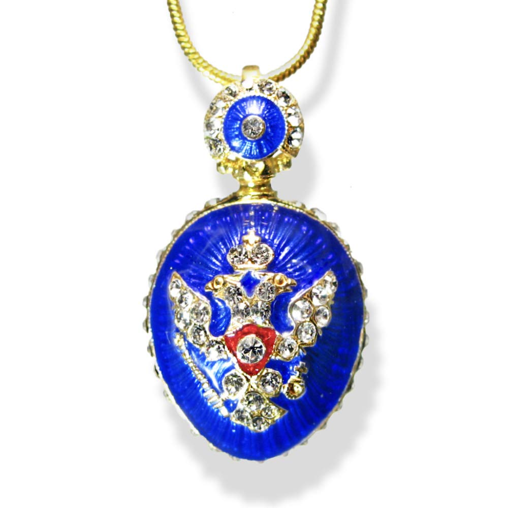 Sterling Silver Blue Guilloché Double-Headed Eagle Neckla Enamel Rapid rise Free shipping on posting reviews