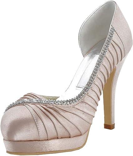 ZHRUI MZ542 para mujer Plisado de satén Nupcial de la Boda de Noche de Baile Sandalias (Color   Champagne-12cm Heel, tamaño   5 UK)