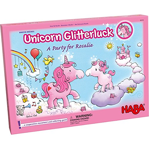Image of HABA Unicorn Glitterluck - A Party for Rosalie Cooperative Game for Ages 4+