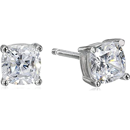Platinum Plated Sterling Silver Cushion Cut Cubic Zirconia Stud Earrings