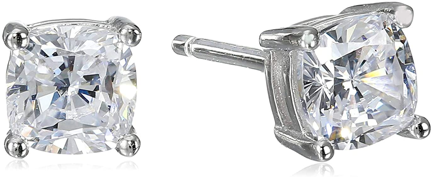 Platinum Plated Sterling Silver Cushion Cut New Free Shipping Cubic Zirconia overseas Stud