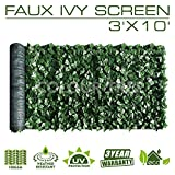 ColourTree 3' x 10' Artificial Hedges Faux Ivy Leaves Fence Privacy Screen Cover Panels  Decorative Trellis - Mesh Backing - 3 Years Full Warranty