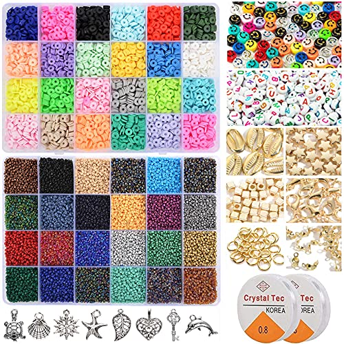 22600pcs Beads for Jewelry Making Kit Include 3600pcs Heishi Flat Polymer Clay Beads & 18000pcs Glass Seed Beads DIY Craft Kit with Smiley Face Letter Beads Elastic Strings