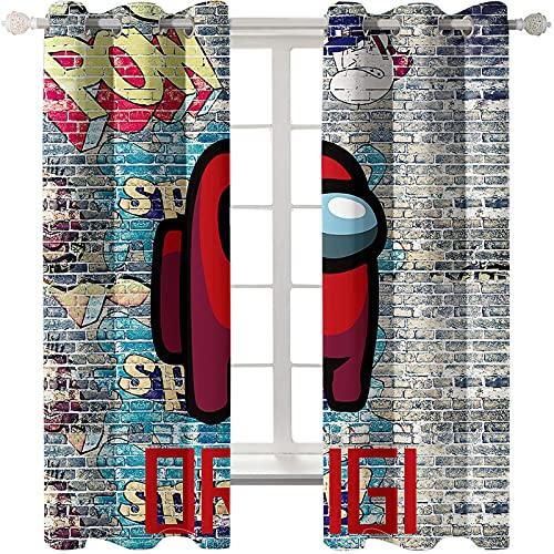 Cortinas De Impresión Modernas De Animación De Dibujos Animados Sombreado Aislamiento Térmico Perforaciones Cortinas Flotantes Fáciles De Instalar Adecuadas para El Dormitorio La Sala De Estar