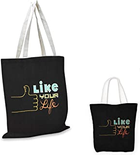 fashion shopping tote bag Motivational Thumbs Up Hand Gesture with Doodle Style Saying Chalkboard Life Inspiration Multicolor tote bag with pockets