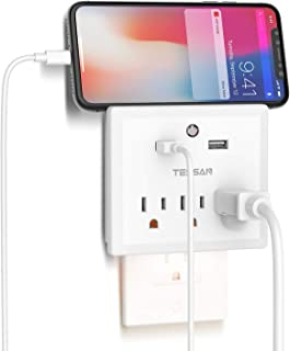 Multi Plug Outlet Extender with USB Wall Charger and Night Light, Cruise Ship Travel Power Strip with 2 USB 3 Outlet Splitter Adapter for Phone Charger Wall Plug