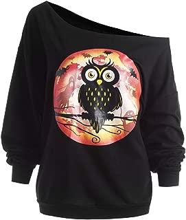 Halloween Owl Skew Neck Sweatshirt Women's Plus Size Pullover Tops Blouse T-Shirt