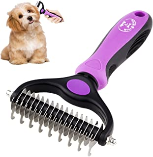 BENCMATE Dematting Comb Tool for Dogs Cats Pet Grooming Undercoat Rake with Dual Side - Gently Removes Undercoat Knots Mats